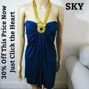 SKY, DEEP TEAL Halter Dress Sz Sm